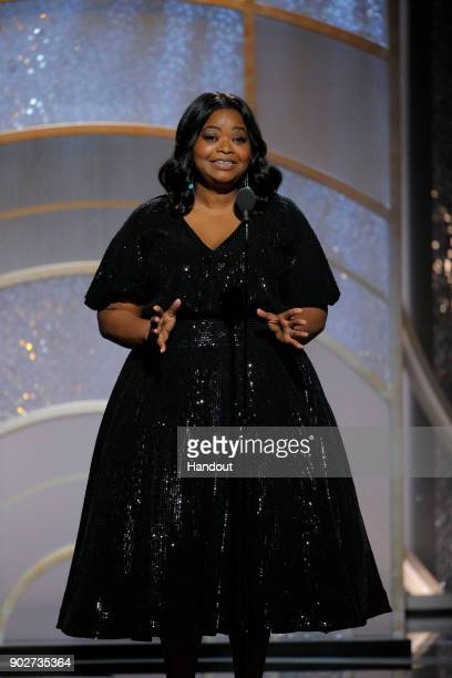 In this handout photo provided by NBCUniversal Actress Octavia Spencer speaks onstage during the 75th Annual Golden Globe Awards at The Beverly...