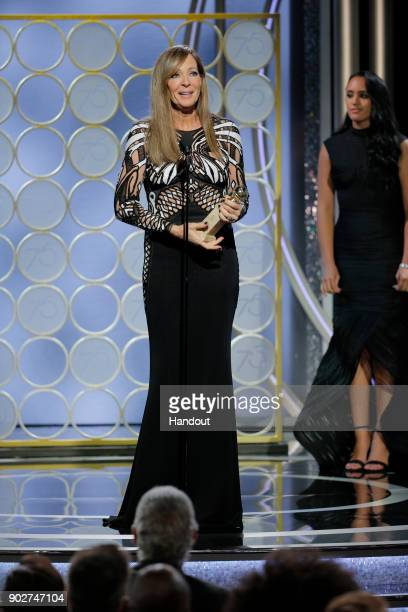 In this handout photo provided by NBCUniversal Allison Janney accepts the award Best Performance by an Actress in a Supporting Role in a Motion...