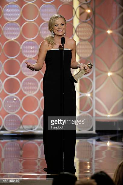 In this handout photo provided by NBCUniversal Amy Poehler accepts the award for Best Actress TV Series Comedy or Musical for Parks and Recreation...