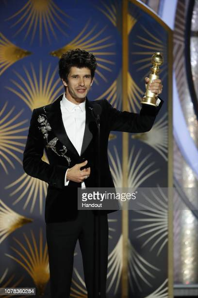 "In this handout photo provided by NBCUniversal Ben Whishaw of ""A Very English Scandal"" accept the Best Performance by an Actor in a Supporting Role..."