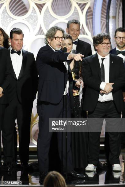 """In this handout photo provided by NBCUniversal Brian Hayes Currie Peter Farrelly Linda Cardellini John Sloss and Charles B Wessler from """"Green Book""""..."""
