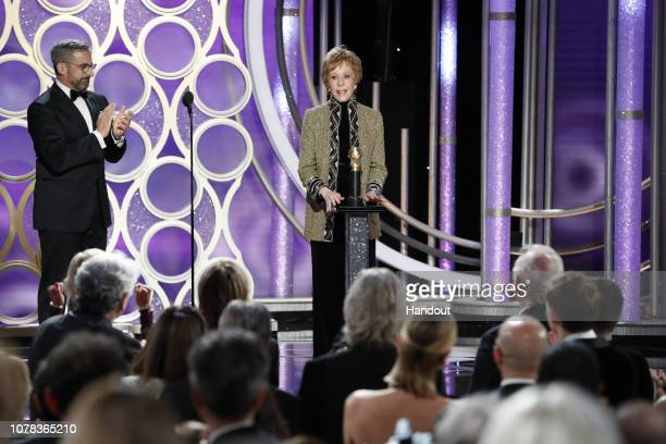 In this handout photo provided by NBCUniversal Carol Burnett accepts the Carol Burnett TV Achievement Award onstage during the 76th Annual Golden...