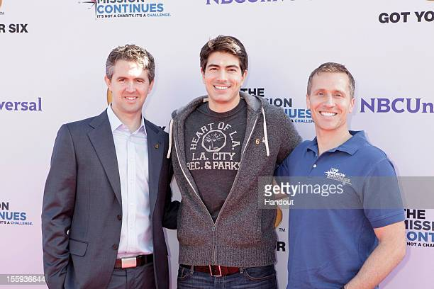 "In this handout photo provided by NBCUniversal, Chris Marvin, Brandon Routh and Eric Greitens attend ""The Mission Continues"" teams with ""Got Your 6""..."