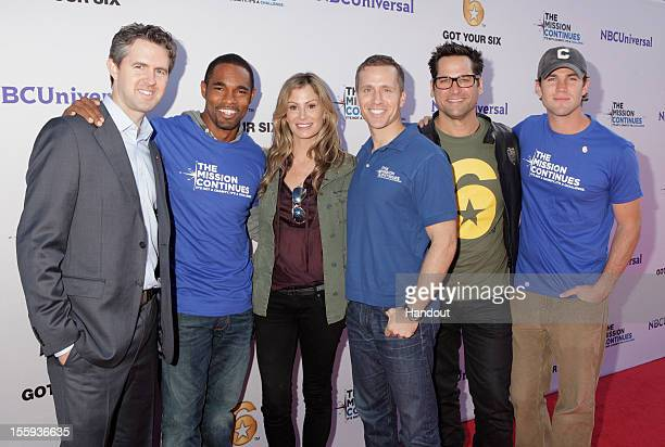 In this handout photo provided by NBCUniversal, Chris Marvin, Jason George, Tracy Huston, Eric Greitens, Johnny Littlefield and Austin Stowell attend...