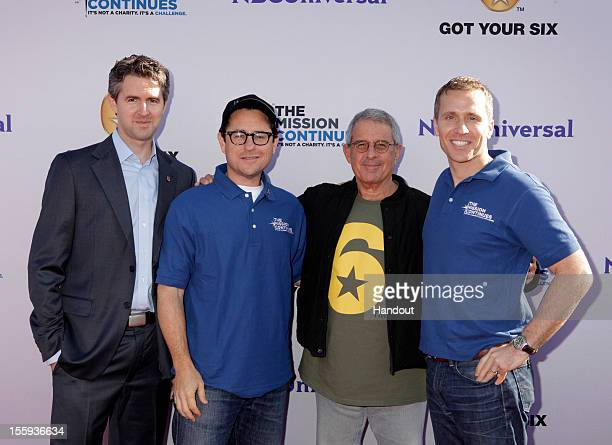 "In this handout photo provided by NBCUniversal, Chris Marvin, J.J. Abrams, Ron Meyer and Eric Greitens attend ""The Mission Continues"" teams with ""Got..."