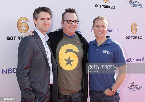 "In this handout photo provided by NBCUniversal, Chris Marvin, Tom Arnold and Eric Greitens attend ""The Mission Continues"" teams with ""Got Your 6"" to..."