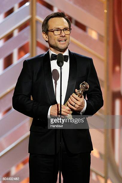In this handout photo provided by NBCUniversal Christian Slater accepts the award for Best Supporting Actor Series/Limited Series/TV Movie Mr Robot...