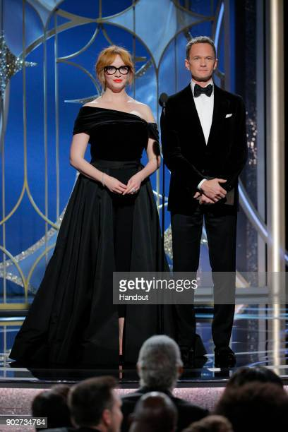 In this handout photo provided by NBCUniversal Christina Hendricks and Neil Patrick Harris speak onstage during the 75th Annual Golden Globe Awards...