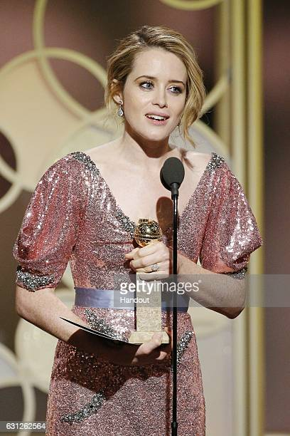 In this handout photo provided by NBCUniversal Claire Foy accepts the award for Best Actress in a TV Series Drama for her role in The Crown at the...