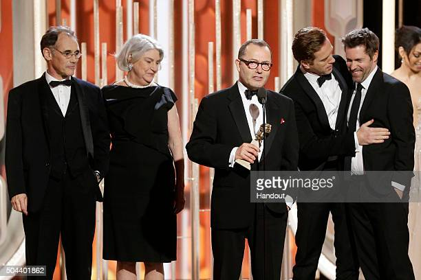 In this handout photo provided by NBCUniversal Colin Callender accepts the award for Best Television Limited Series or Motion Picture Made for...