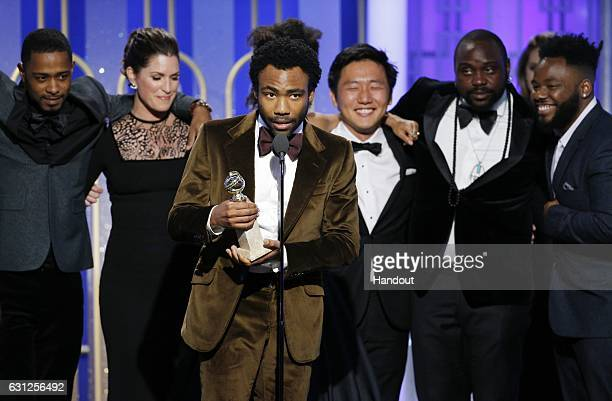 In this handout photo provided by NBCUniversal creator executive producer and actor Donald Glover accepts the award for Best Television Series...