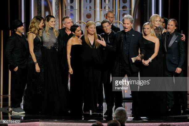 In this handout photo provided by NBCUniversal David E Kelley accepts the award for Best Television Limited Series or Motion Picture Made for...