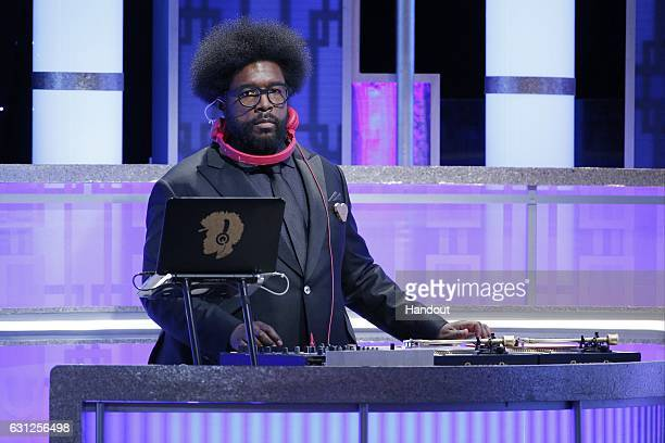 In this handout photo provided by NBCUniversal DJ Questlove onstage during the 74th Annual Golden Globe Awards at The Beverly Hilton Hotel on January...