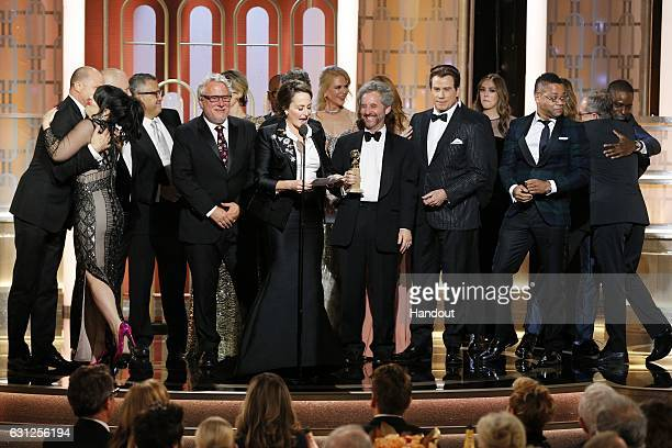 In this handout photo provided by NBCUniversal Executive Producer Nina Jacobson accepts the award for Best Television Limited Series or Motion...