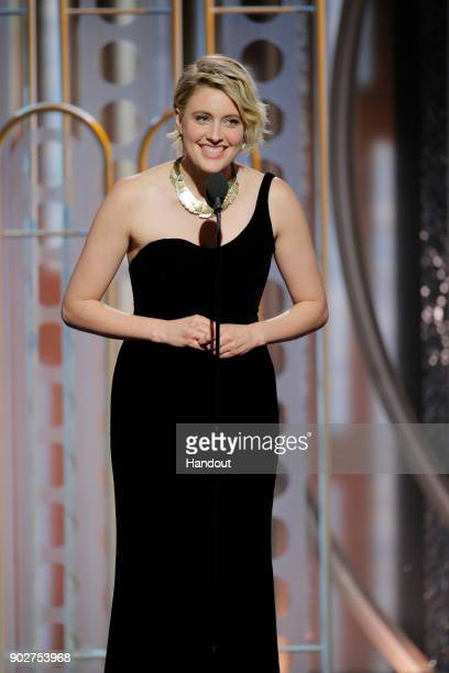 In this handout photo provided by NBCUniversal Filmmaker Greta Gerwig speaks onstage during the 75th Annual Golden Globe Awards at The Beverly Hilton...