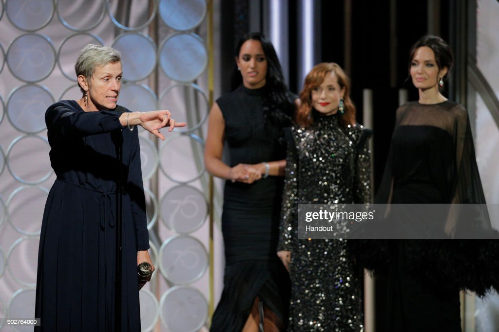 "In this handout photo provided by NBCUniversal, Frances McDormand accepts the award for Best Performance by an Actress in a Motion Picture – Drama for ""Three Billboards Outside Ebbing, Missouri"" during the 75th Annual Golden Globe Awards at The Beverly Hilton Hotel on January 7, 2018 in Beverly Hills, California."