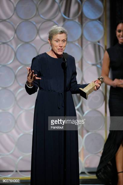 In this handout photo provided by NBCUniversal Frances McDormand accepts the award for Best Performance by an Actress in a Motion Picture – Drama for...