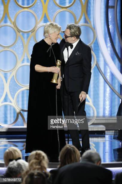 "In this handout photo provided by NBCUniversal Gary Oldman presents Glenn Close from ""The Wife"" with the Best Actress in a Motion Picture – Drama..."