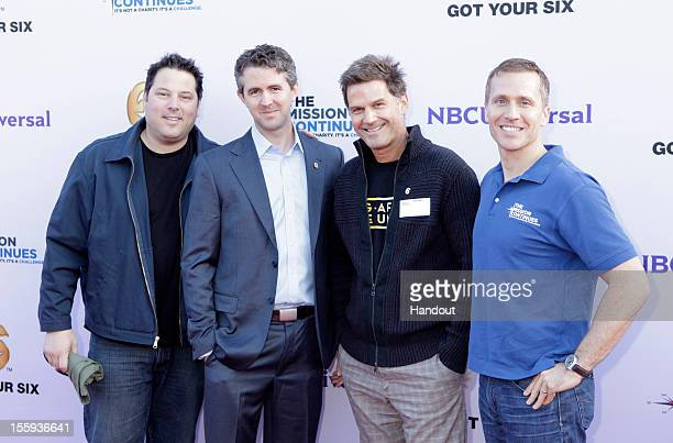 "In this handout photo provided by NBCUniversal, Greg Grunberg, Chris Marvin, D.W. Moffett and Eric Greitens attend ""The Mission Continues"" teams with..."