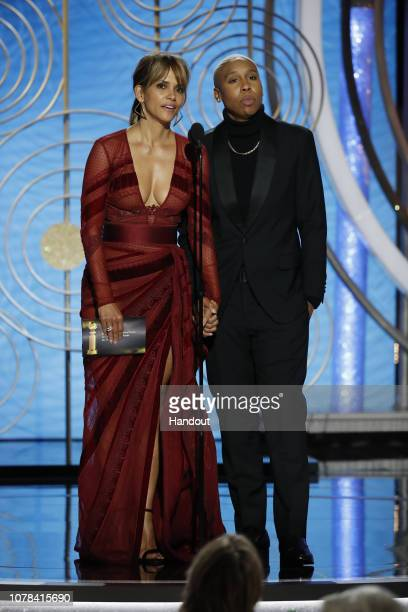 In this handout photo provided by NBCUniversal Halle Berry and Lena Waithe speak onstage during the 76th Annual Golden Globe Awards at The Beverly...