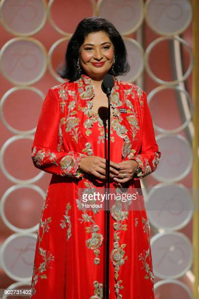 In this handout photo provided by NBCUniversal HFPA President Meher Tatna speaks onstage during the 75th Annual Golden Globe Awards at The Beverly...