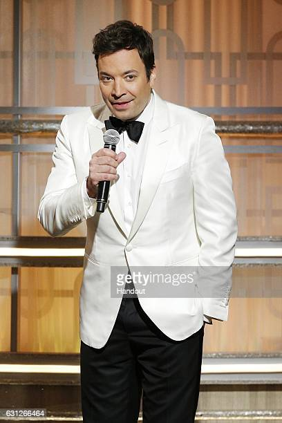 In this handout photo provided by NBCUniversal host Jimmy Fallon onstage during the 74th Annual Golden Globe Awards at The Beverly Hilton Hotel on...