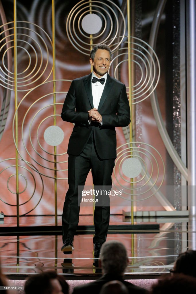 In this handout photo provided by NBCUniversal, Host Seth Meyers speaks onstage during the 75th Annual Golden Globe Awards at The Beverly Hilton Hotel on January 7, 2018 in Beverly Hills, California.