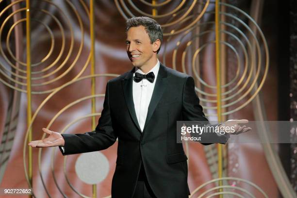 In this handout photo provided by NBCUniversal Host Seth Meyers speaks onstage during the 75th Annual Golden Globe Awards at The Beverly Hilton Hotel...