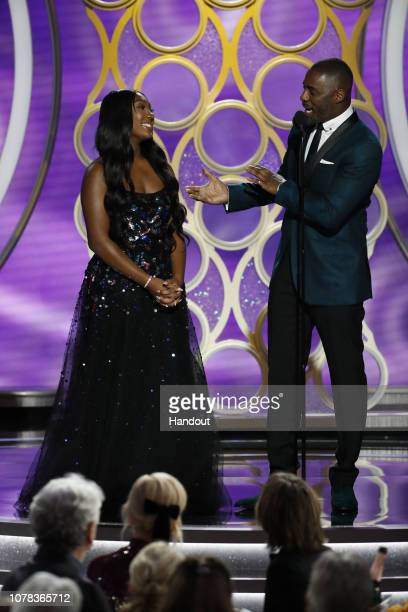 In this handout photo provided by NBCUniversal Idris Elba presents Miss Golden Globe 2019 Isan Elba onstage during the 76th Annual Golden Globe...