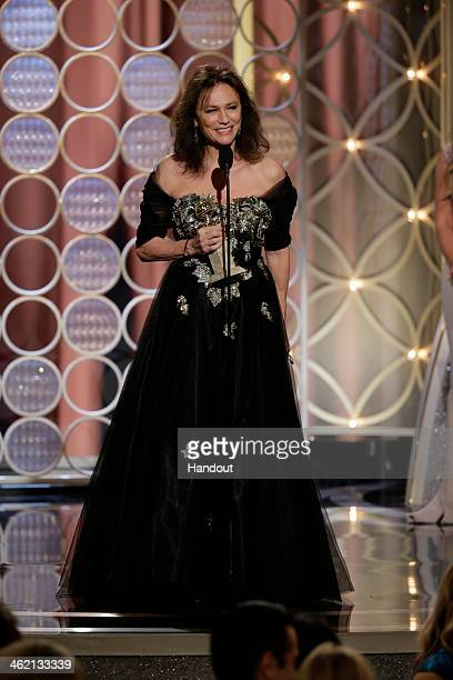 In this handout photo provided by NBCUniversal Jacqueline Bisset accepts the award for Best Supporting Actress in a Series MiniSeries or TV Movie for...