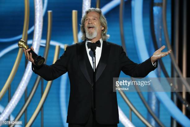 In this handout photo provided by NBCUniversal Jeff Bridges accepts the Cecil B Demille Award onstage during the 76th Annual Golden Globe Awards at...