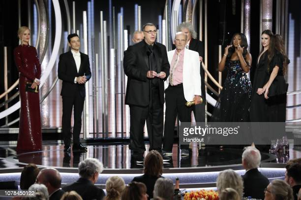 "In this handout photo provided by NBCUniversal Jim Beach accepts the Best Motion Picture – Drama award for ""Bohemian Rhapsody"" speak onstage during..."
