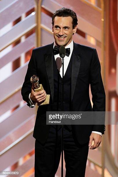 In this handout photo provided by NBCUniversal Jon Hamm accepts the award for Best Actor TV Series Drama 'Mad Men' onstage during the 73rd Annual...