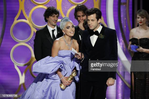 "In this handout photo provided by NBCUniversal Lady Gaga and Mark Ronson accept the Best Original Song Motion Picture awards for ""Shallow"" from ""A..."