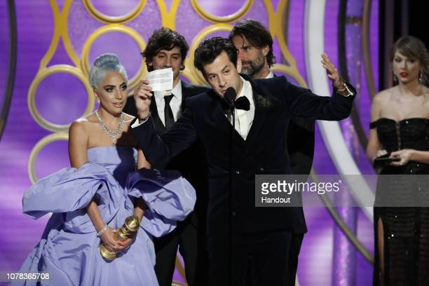 """In this handout photo provided by NBCUniversal Lady Gaga and Mark Ronson accept the Best Original Song Motion Picture awards for """"Shallow"""" from """"A..."""