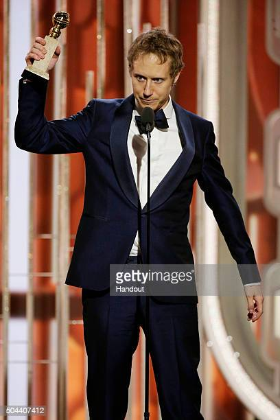 In this handout photo provided by NBCUniversal Laszlo Nemes accepts the awards for Best Motion Picture Foreign Language for 'Son of Saul' onstage...
