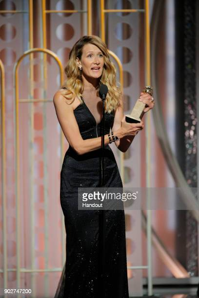 In this handout photo provided by NBCUniversal Laura Dern accepts the award for Best Performance by an Actress in a Supporting Role in a Series...