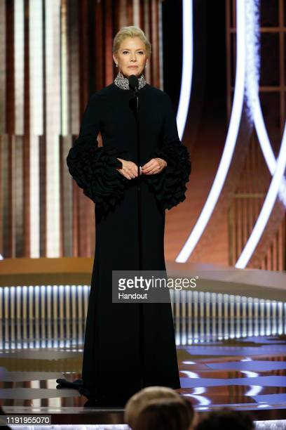In this handout photo provided by NBCUniversal Media LLC Annette Bening speaks onstage during the 77th Annual Golden Globe Awards at The Beverly...