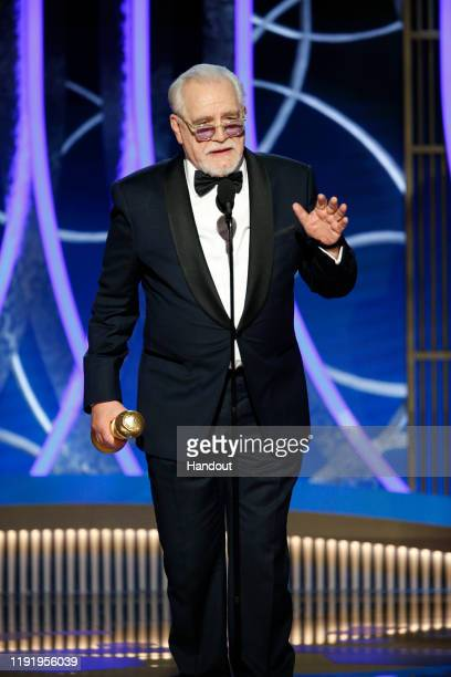 In this handout photo provided by NBCUniversal Media LLC Brian Cox accepts the award for BEST PERFORMANCE BY AN ACTOR IN A TELEVISION SERIES DRAMA...