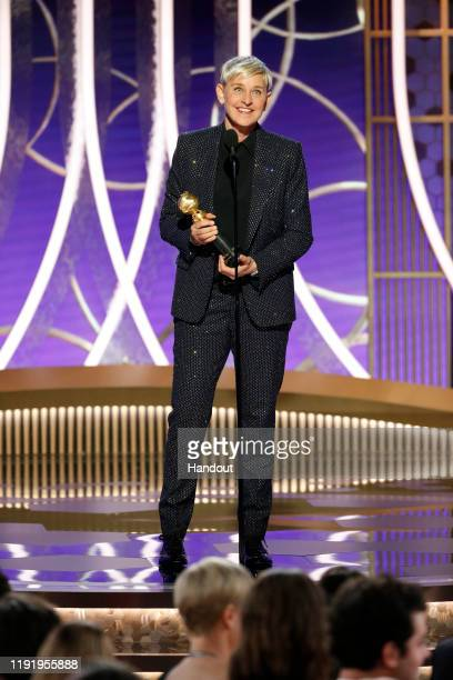 In this handout photo provided by NBCUniversal Media, LLC, Ellen DeGeneres accepts the CAROL BURNETT AWARD onstage during the 77th Annual Golden...