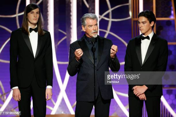 In this handout photo provided by NBCUniversal Media LLC Golden Globe Ambassador Dylan Brosnan father and actor Pierce Brosnan and Golden Globe...