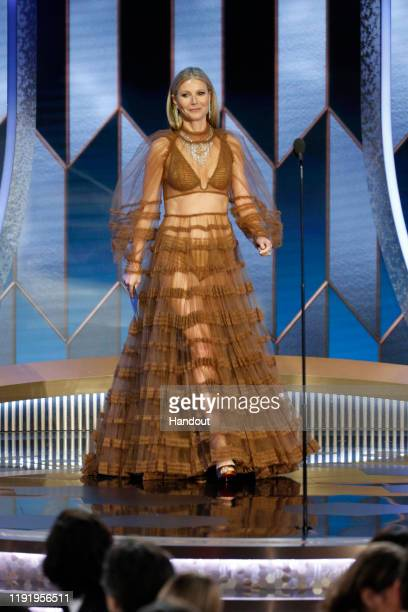 In this handout photo provided by NBCUniversal Media, LLC, Gwyneth Paltrow onstage during the 77th Annual Golden Globe Awards at The Beverly Hilton...