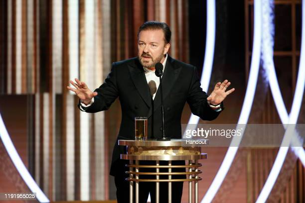 In this handout photo provided by NBCUniversal Media, LLC, host Ricky Gervais speaks onstage during the 77th Annual Golden Globe Awards at The...