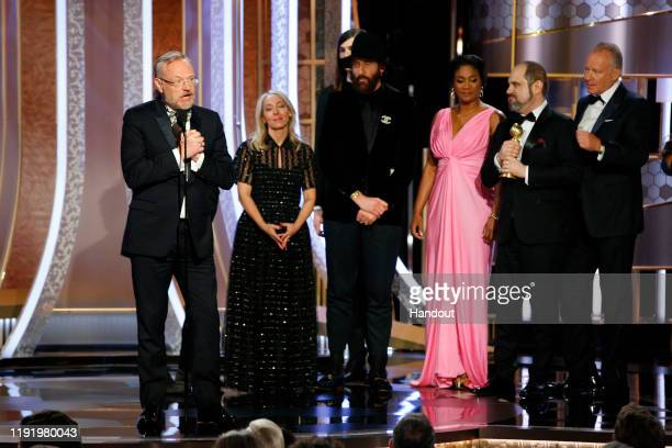 In this handout photo provided by NBCUniversal Media LLC Jared Harris speaks as Chernobyl wins the award for BEST TELEVISION LIMITED SERIES OR MOTION...