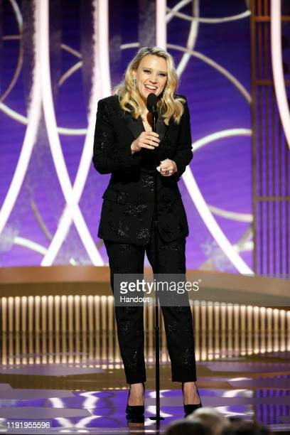In this handout photo provided by NBCUniversal Media LLC Kate McKinnon speaks onstage during the 77th Annual Golden Globe Awards at The Beverly...