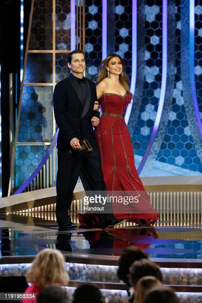 In this handout photo provided by NBCUniversal Media LLC Matt Bomer and Sofía Vergara onstage during the 77th Annual Golden Globe Awards at The...