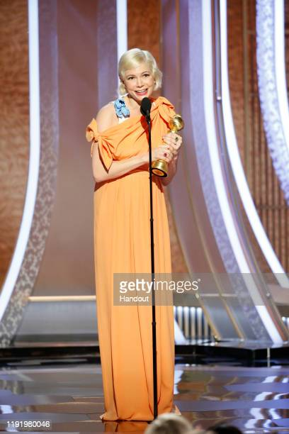 In this handout photo provided by NBCUniversal Media, LLC, Michelle Williams accepts the award for BEST PERFORMANCE BY AN ACTRESS IN A LIMITED SERIES...