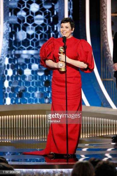 In this handout photo provided by NBCUniversal Media, LLC, Olivia Colman accepts the award for BEST PERFORMANCE BY AN ACTRESS IN A TELEVISION SERIES...