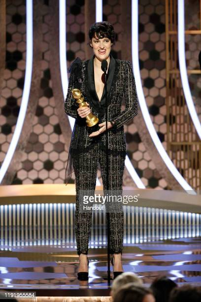 In this handout photo provided by NBCUniversal Media, LLC, Phoebe Waller-Bridge accepts the award for BEST PERFORMANCE BY AN ACTRESS IN A TELEVISION...
