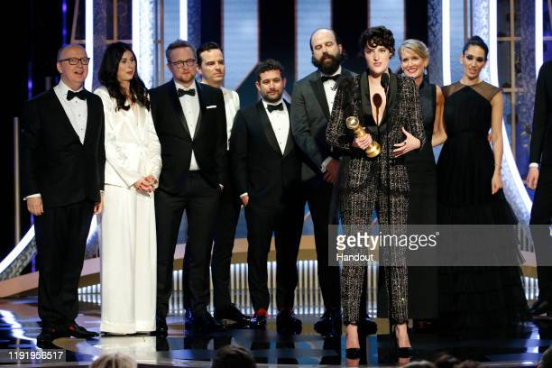 In this handout photo provided by NBCUniversal Media LLC Phoebe WallerBridge accepts the award for BEST TELEVISION SERIES MUSICAL OR COMEDY for...